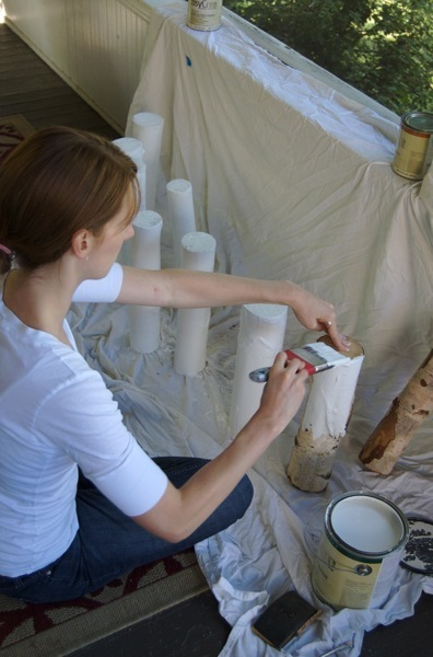 painting the logs