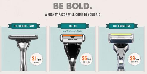 Dollar Shave Club razor pricing options