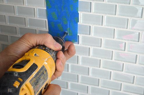 how to drill through bathroom tiles tip how to install a shower shelf glass or 25381