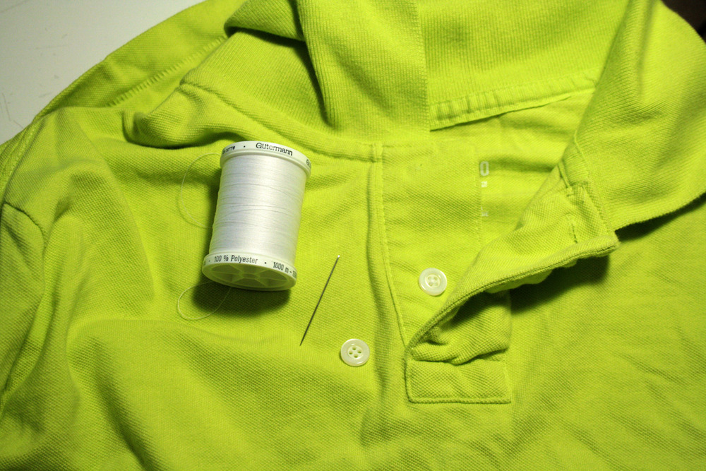 how to sew on a button on a shirt