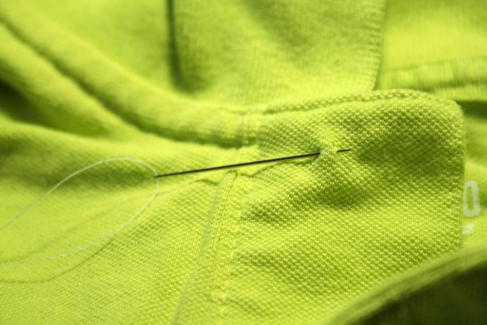 start on the outside of the garment