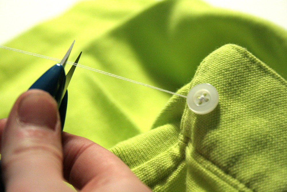 cut the thread and leave a few inches of slack