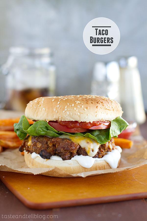 Taco Burger via [http://www.tasteandtellblog.com/taco-burgers/]