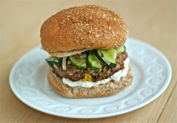 Asian pork burger with pickled cucumbers [http://yankee-kitchen-ninja.blogspot.ca/2013/06/asian-pork-burgers-with-quick-pickled.html]