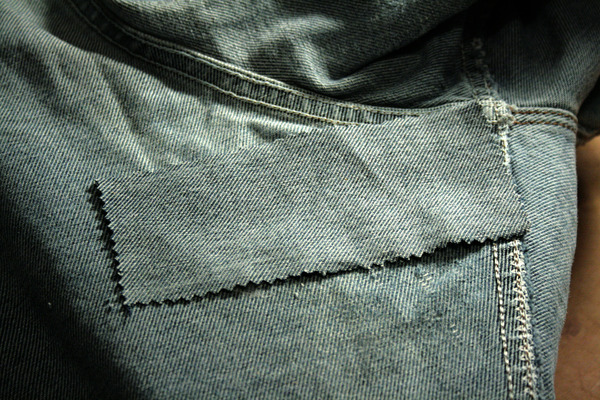 jean patch applied over the hole