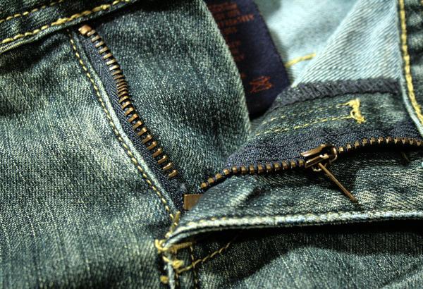 jeans with a broken zipper
