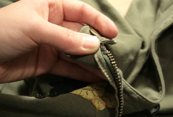 removing the top stop from the zipper