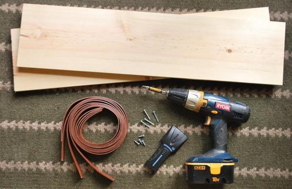 Leather strap DIY shelf