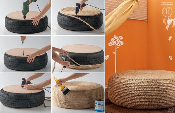 Old tire ottoman DIY