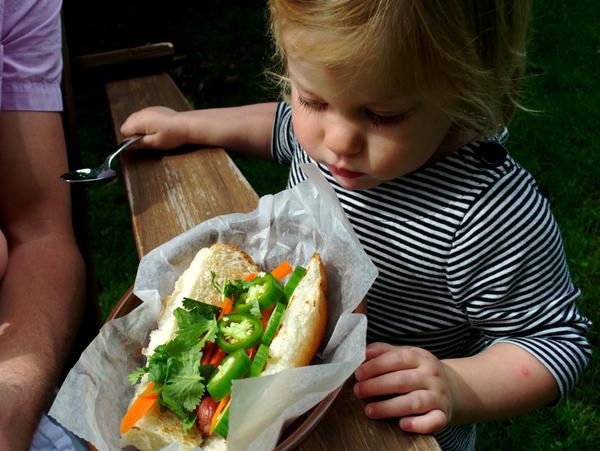 Trepidation over a bahn mi hot dog