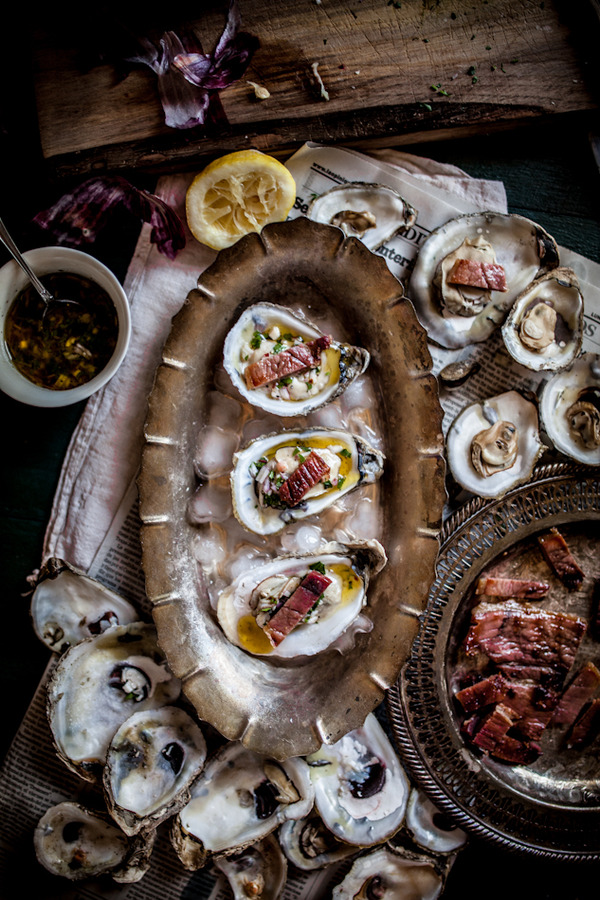Grilled Oysters On The Halfshell with Grilled Proscuitto & Mignonette