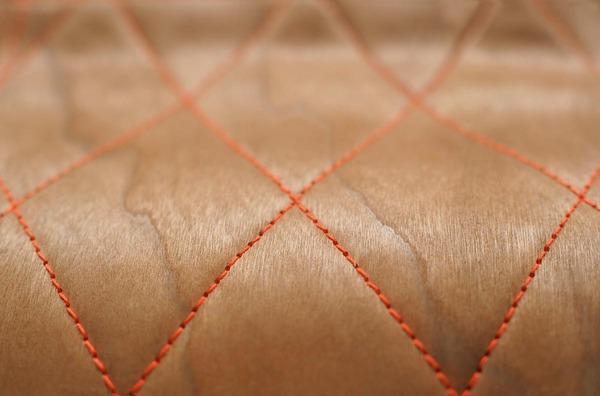 Sewn wood veneer ottoman