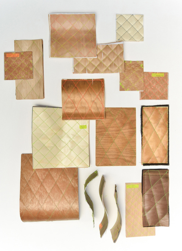 sewn veneer wood