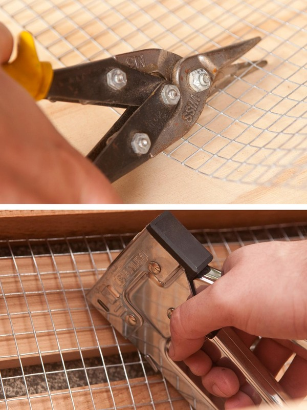 stapling wire mesh to box frames