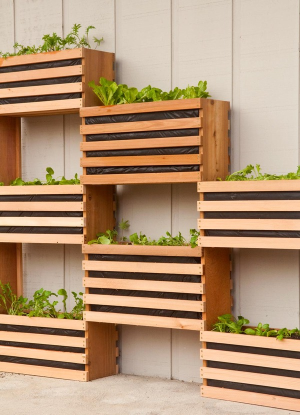 Crate vertical garden