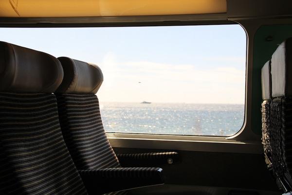 Reading on trains through Europe.