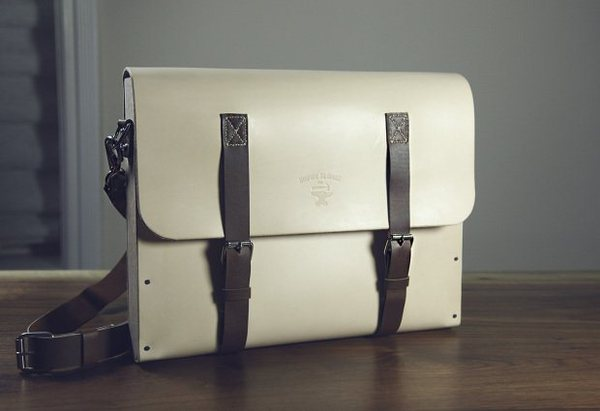 Leather and wood satchel