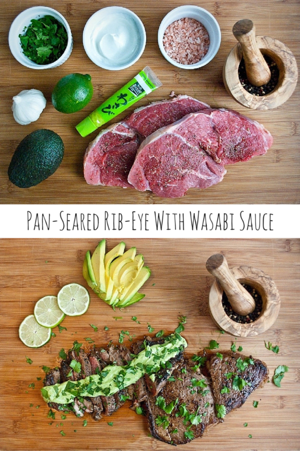 Pan-Seared Rib-Eye Steak with Wasabi Cream Sauce