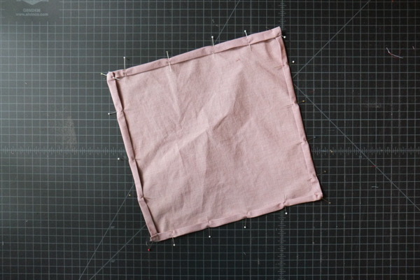 pinned square on table