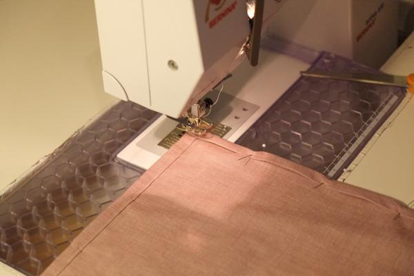 stitching a handkerchief