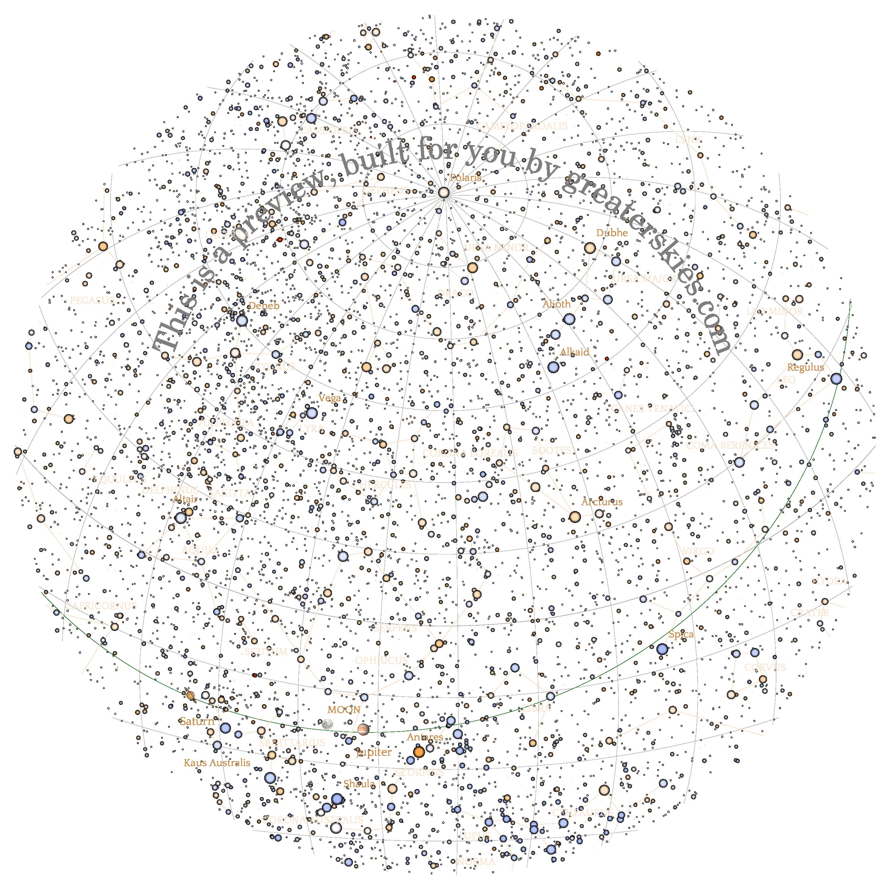 GreaterSkies - Luxury custom star map download and print