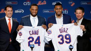 Robinson Canó y Edwin Díaz presentados en el Citi Field como nuevos integrantes de los Mets