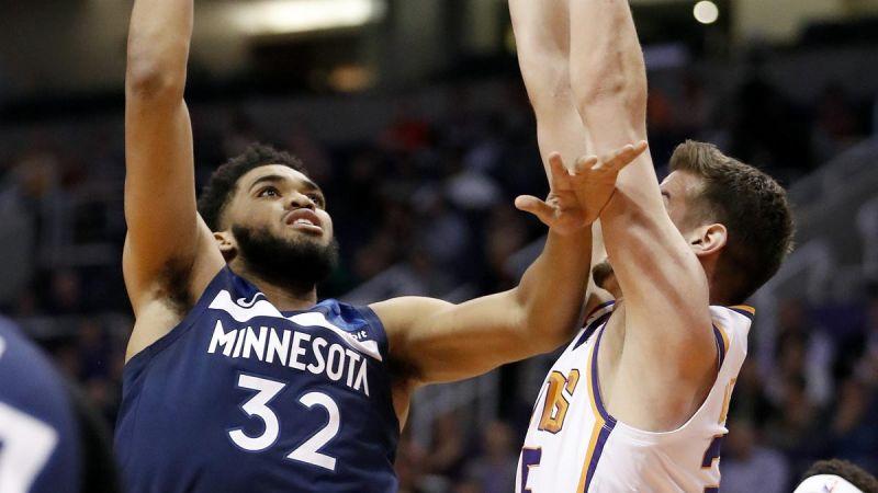 Doble-doble de Towns lleva a Timberwolves a paliza ante Suns