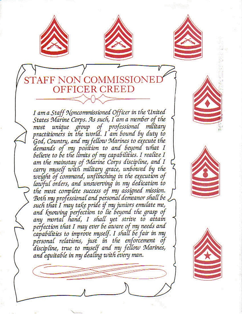 Official Marine Corps Nco Creed Pictures to Pin on ...