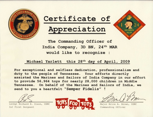 Toys For Tots Certificate : Togetherweserved sgt michael yarlett