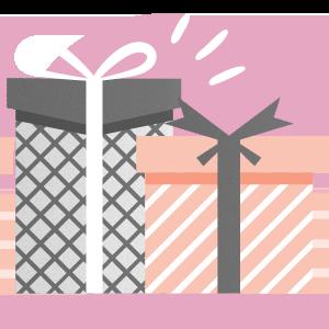 Imagem de caixas de presente representando aplicativos de evento do tipo container