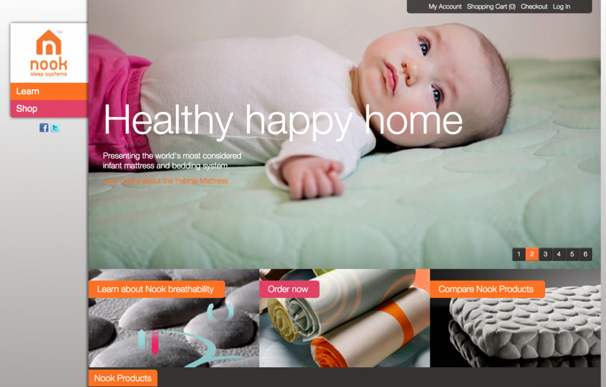 the new nook sleep systems website  nook sleep systems - before