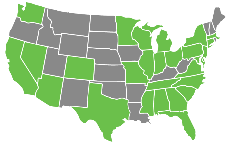 Attorney Network map of states that we serve