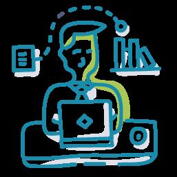 person at computer icon