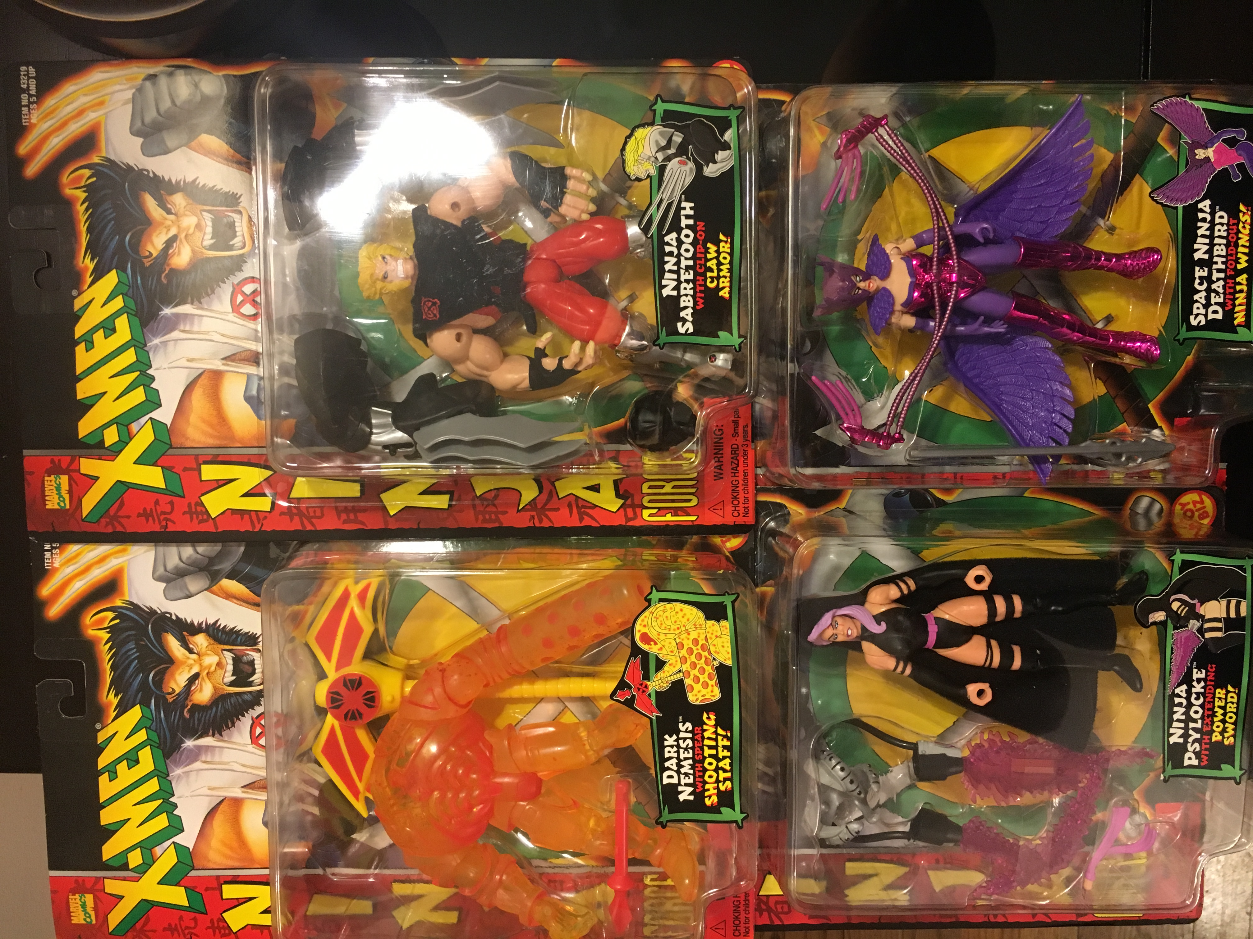 X-Men Ninja Force Lot (4 out of 5 collectables)  Toy Biz, Inc. 035112432203; 035112432197; 035112432180; 03511243