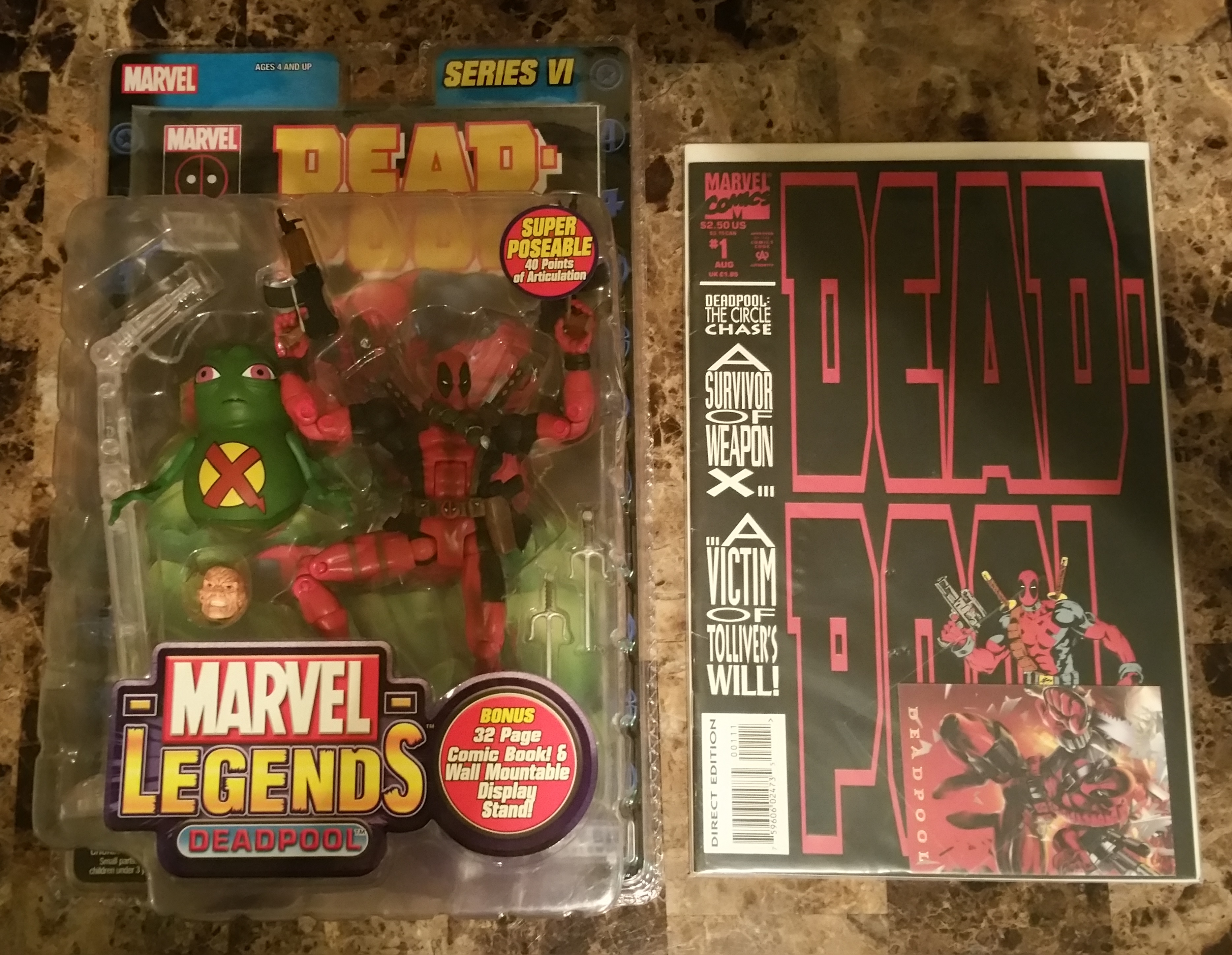 Marvel Legends: Series 6 (VI) Deadpool  BONUS: Deadpool: The Circle Chase #1 comic and 1994 Flair Po 8689271108 Toy Biz