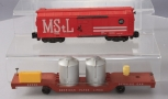 American Flyer S Gauge Postwar 24048 M&StL Boxcar & 24533 Track Cleaning Car