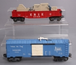 Lionel 3424 Wabash Operating Brakeman Car & 3444 Erie Cop & Hobo Gondola