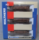 Walthers 932-34006 HO Scale 45' Logging Flat Cars w/Logs [3-Pack] LN/Box