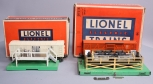 Lionel O Postwar 3472 Operating Milk Car w/ Platform & Cattle Car w/ Corral/Box
