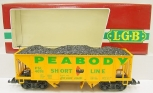 LGB 4076-X01 Peabody 2-Bay Hopper Car w/Coal Load w/Plastic Wheels LN/Box