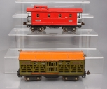 Lionel 513 Lionel Lines Tinplate Cattle Car & 517 Red Tinplate Caboose [2]