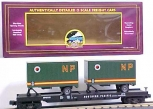 MTH 20-98105 NP Flatcar w/ 2 Short NP Trailers NEW