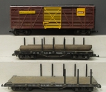 Aristo-Craft & LGB G Scale Freight Cars: Amour Express Stock & S.V.R Flatcars
