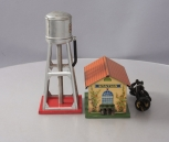 Lionel 93 Small Metal Gray Water Tower & 1017 Prewar Winner Transformer Station