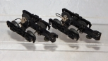 "PAIR MTH Trains 3-Rail Die Cast Trucks 4"" w/roller pickup w/operating couplers O"