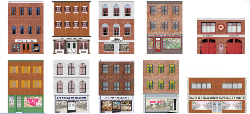 10 Strorefront Flat Buildings for Backgrounds for O Scale Train Layouts