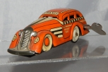 CLEAN Vintage Marx #7108 Tricky Taxi ORANGE Wind Up toy Works great tin litho