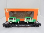 Lionel 6-36001 Route 66 Flat Car w/ 2 Jeep Wagons Woody cars *EXCELLENT* w/ box