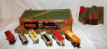 1939 Marx Uncat Set in SCARCE FREIGHT STATION BOX 3000 loco +6 tin cars COMPLTE