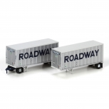 Athearn 28303 N Scale Roadway 28' Trailers with Dolly #2 (Set of 2) NIB